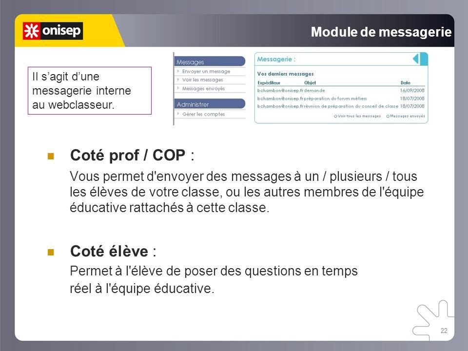 Coté prof / COP : Coté élève : Module de messagerie