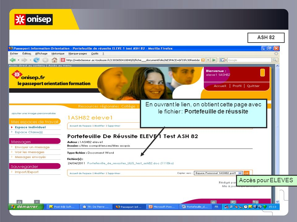 ASH 82 En ouvrant le lien, on obtient cette page avec le fichier : Portefeuille de réussite.