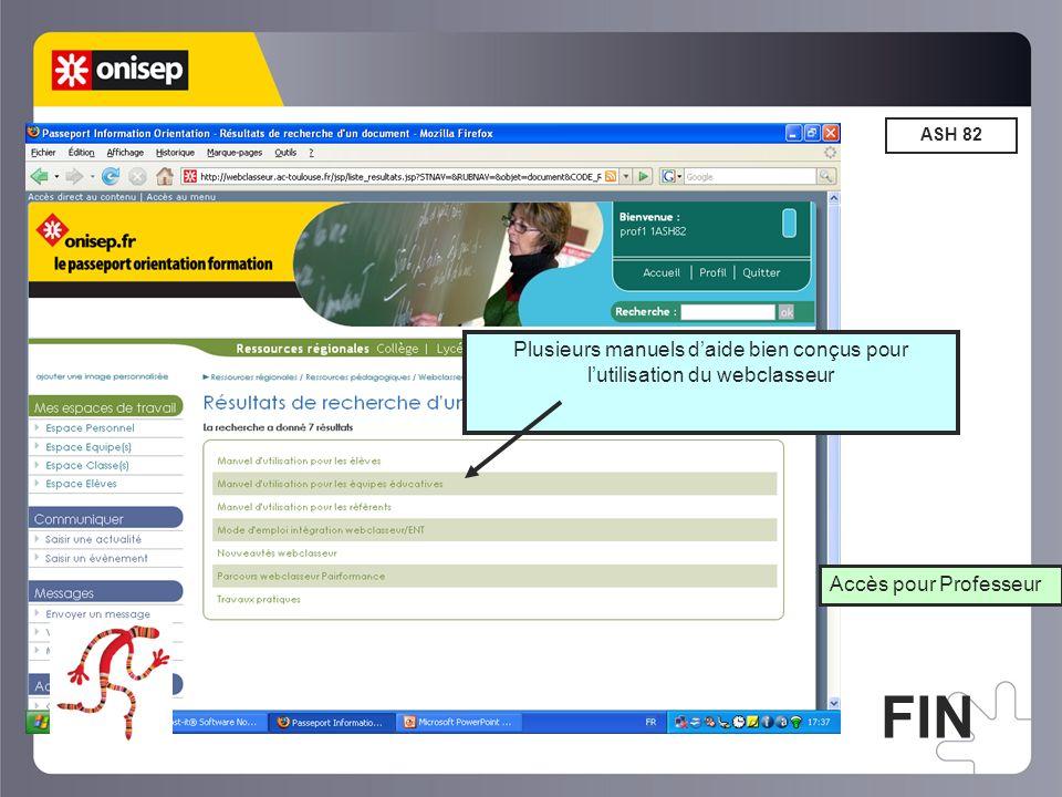Plusieurs manuels d'aide bien conçus pour l'utilisation du webclasseur