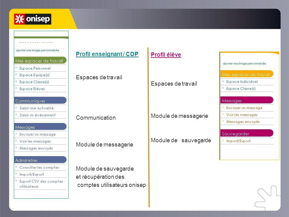Le web classeur Profil élève Profil enseignant / COP