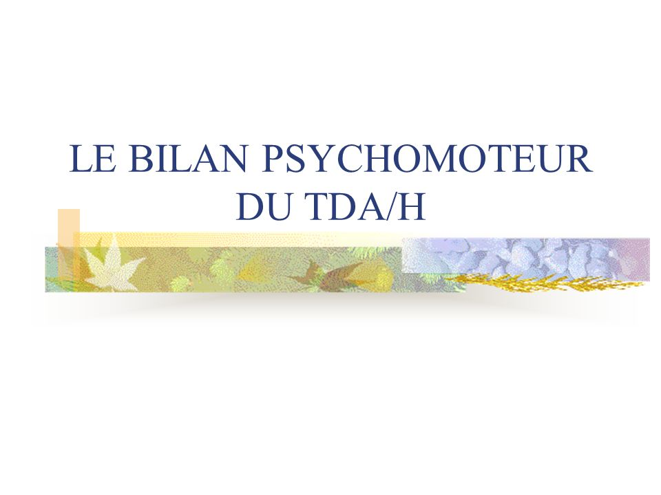 LE BILAN PSYCHOMOTEUR DU TDA/H