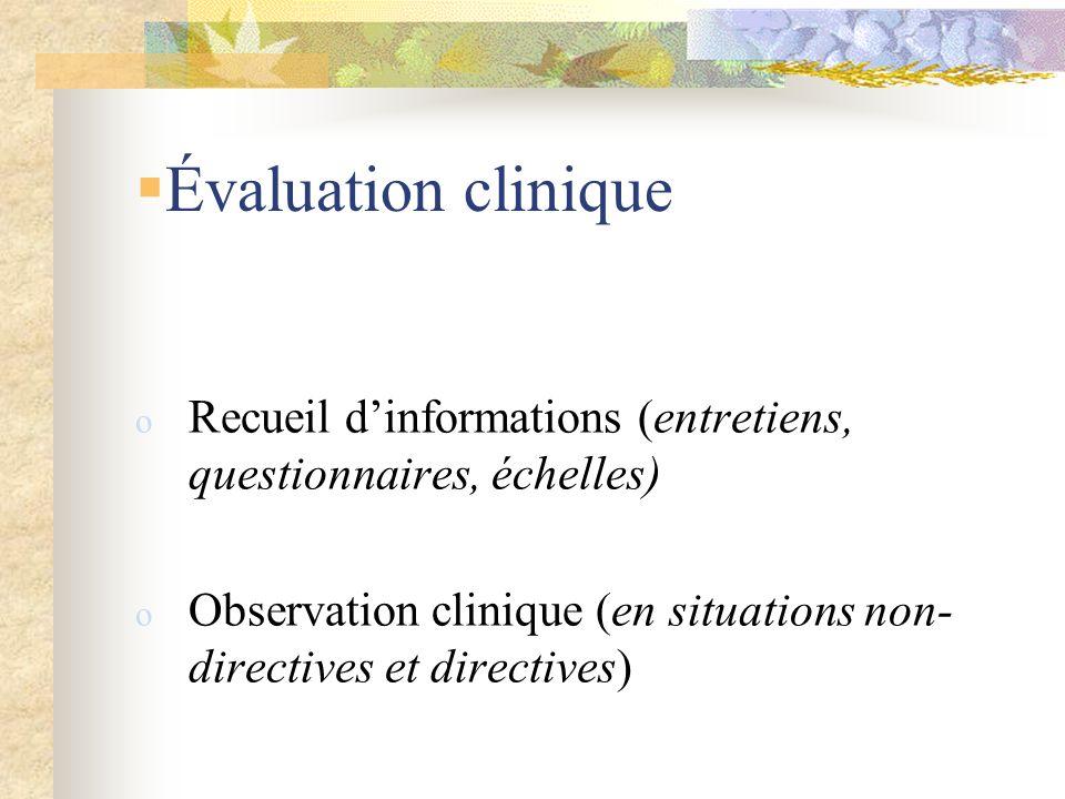 Évaluation clinique Recueil d'informations (entretiens, questionnaires, échelles) Observation clinique (en situations non-directives et directives)