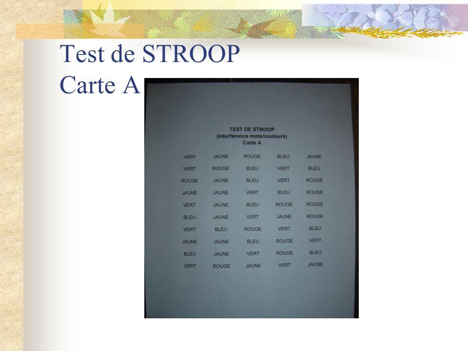 Test de STROOP Carte A