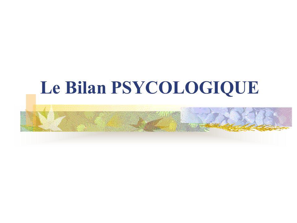 Le Bilan PSYCOLOGIQUE