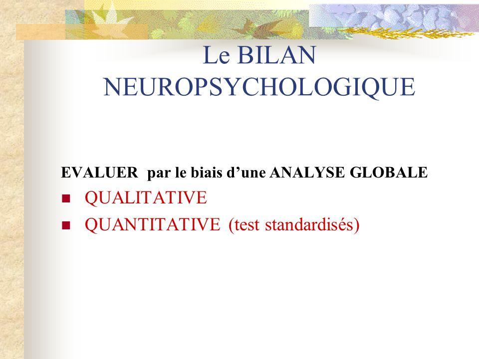 Le BILAN NEUROPSYCHOLOGIQUE