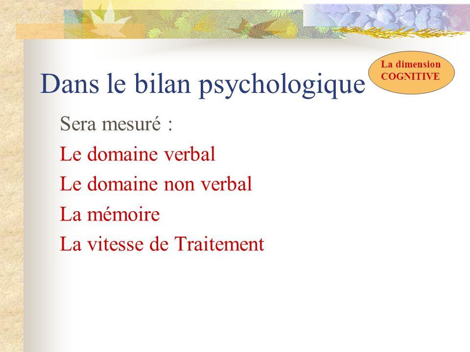 Dans le bilan psychologique