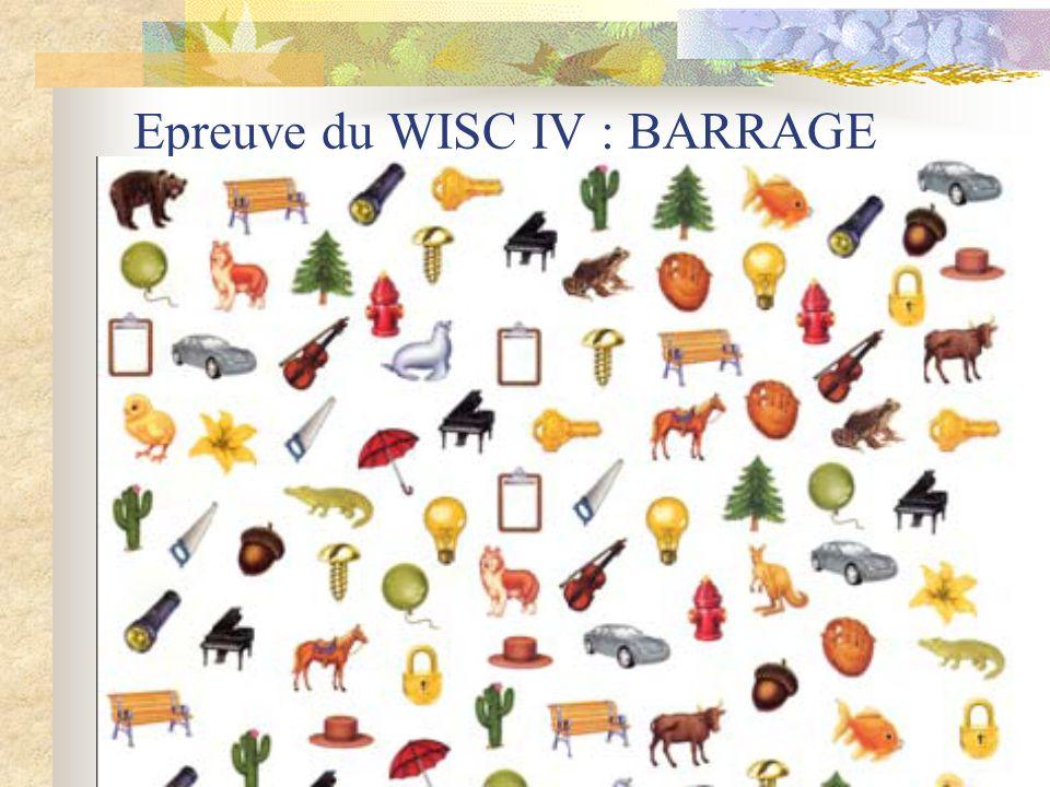 Epreuve du WISC IV : BARRAGE
