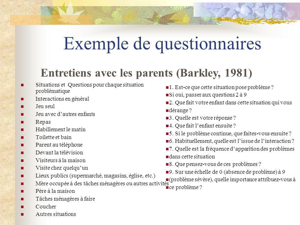 Exemple de questionnaires