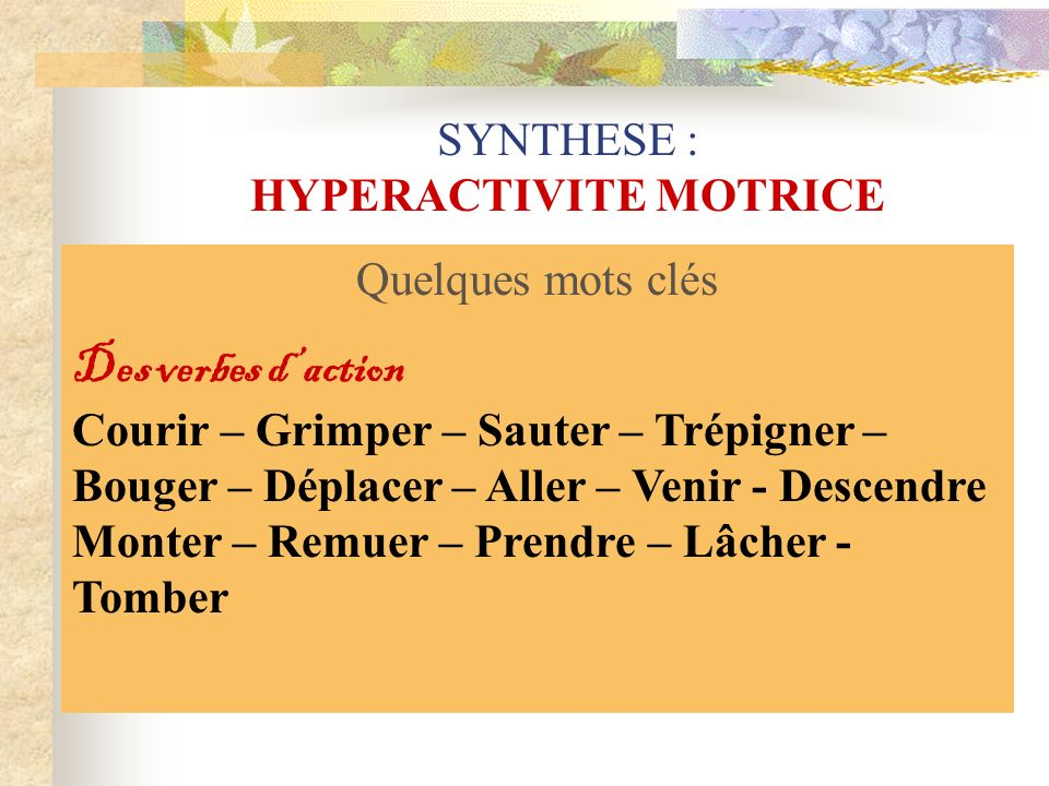 SYNTHESE : HYPERACTIVITE MOTRICE