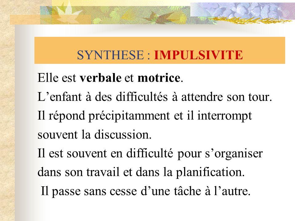 SYNTHESE : IMPULSIVITE
