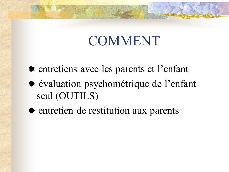 COMMENT  entretiens avec les parents et l'enfant