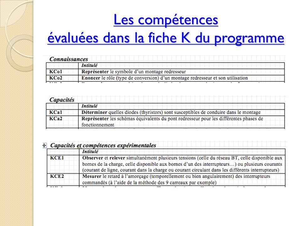 Les compétences évaluées dans la fiche K du programme