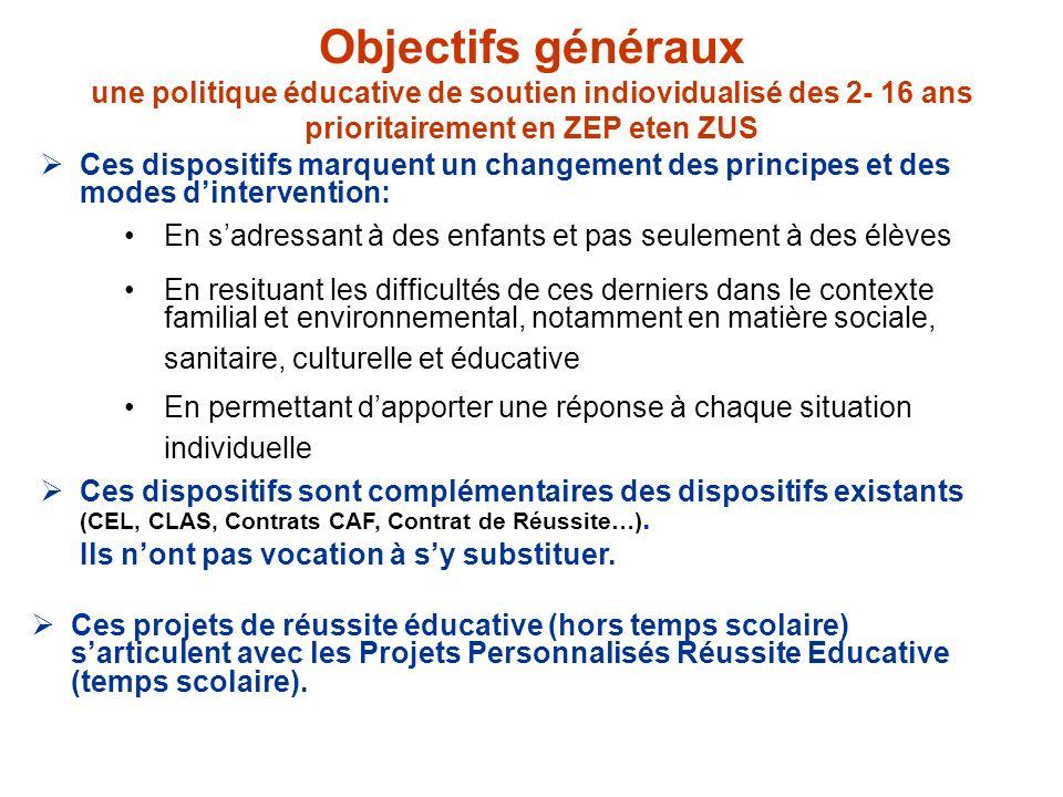 Objectifs généraux une politique éducative de soutien indiovidualisé des 2- 16 ans prioritairement en ZEP eten ZUS