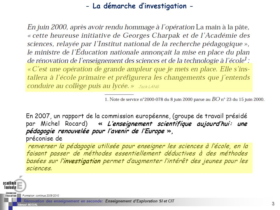 - La démarche d'investigation -