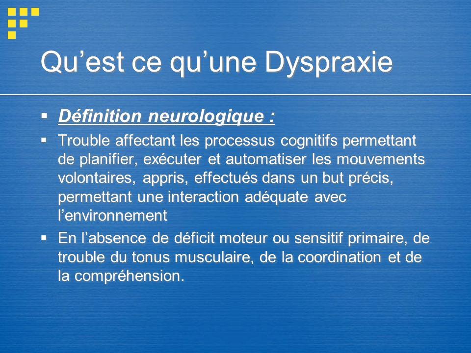 Qu'est ce qu'une Dyspraxie