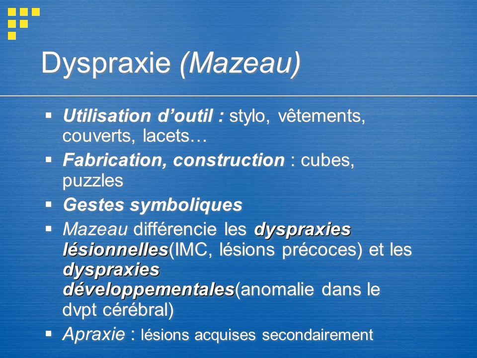 Dyspraxie (Mazeau) Utilisation d'outil : stylo, vêtements, couverts, lacets… Fabrication, construction : cubes, puzzles.