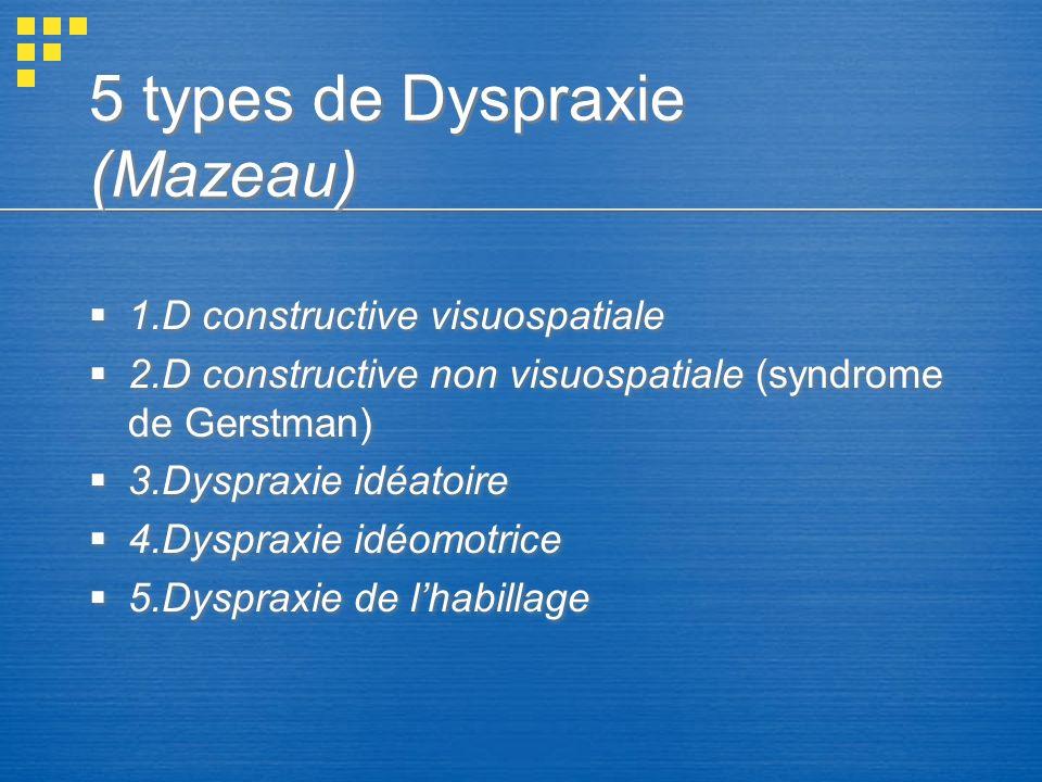 5 types de Dyspraxie (Mazeau)