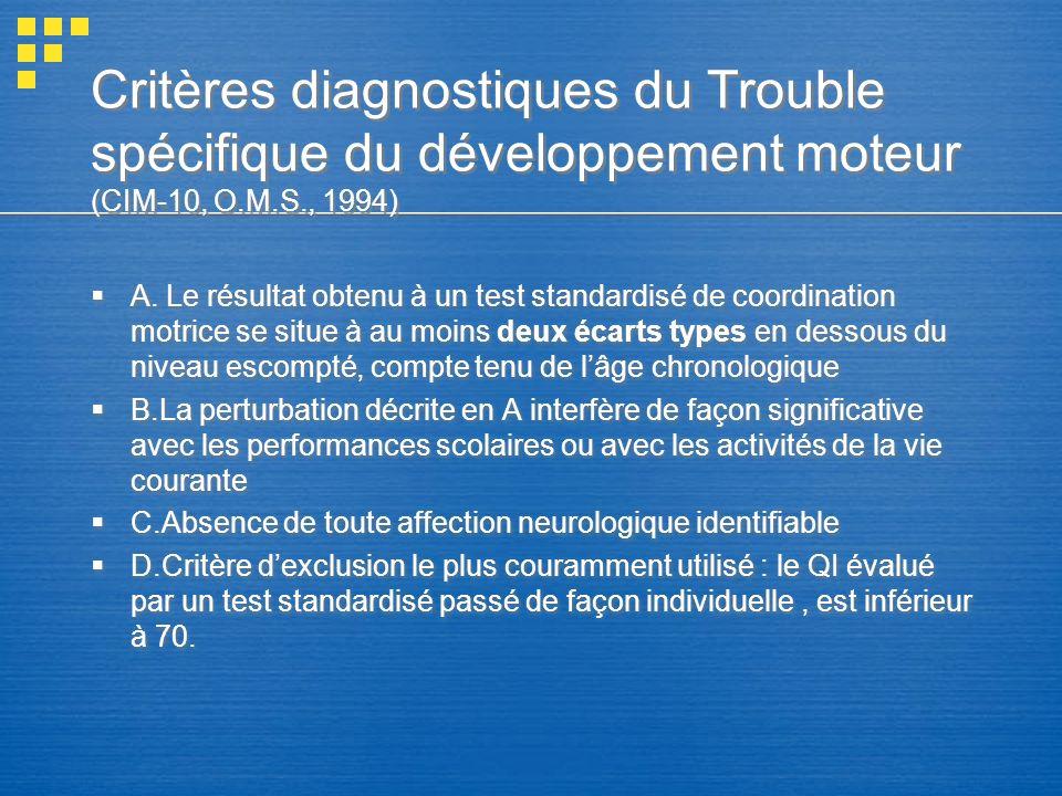 Critères diagnostiques du Trouble spécifique du développement moteur (CIM-10, O.M.S., 1994)