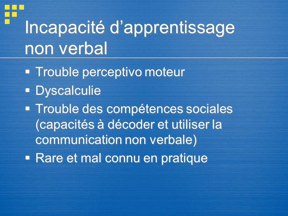 Incapacité d'apprentissage non verbal