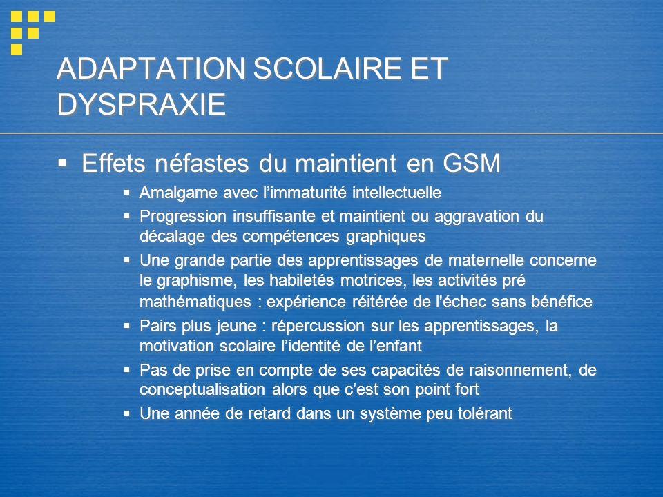 ADAPTATION SCOLAIRE ET DYSPRAXIE
