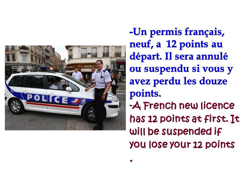 -Un permis français, neuf, a 12 points au départ