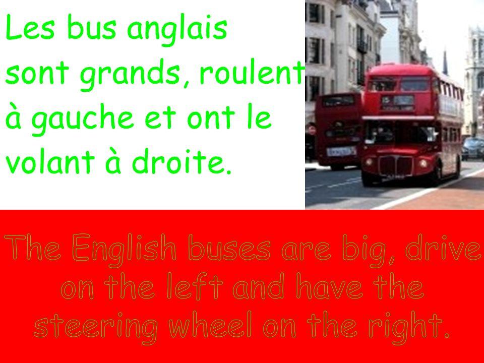 Les bus anglais sont grands, roulent à gauche et ont le. volant à droite.