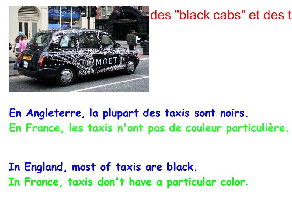 Les couleurs des black cabs et des taxis français