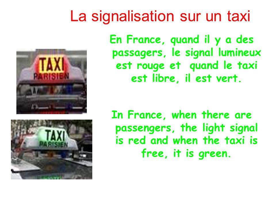 La signalisation sur un taxi