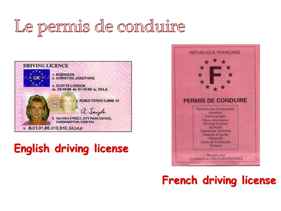 END Le permis de conduire English driving license