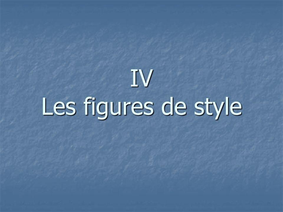 IV Les figures de style