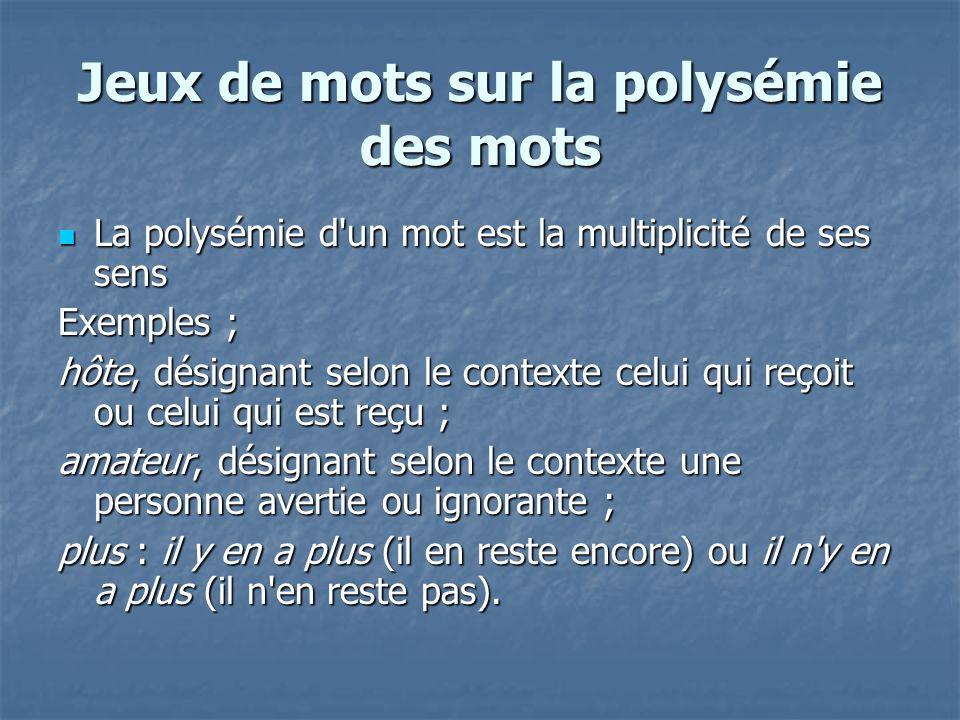 Jeux de mots sur la polysémie des mots