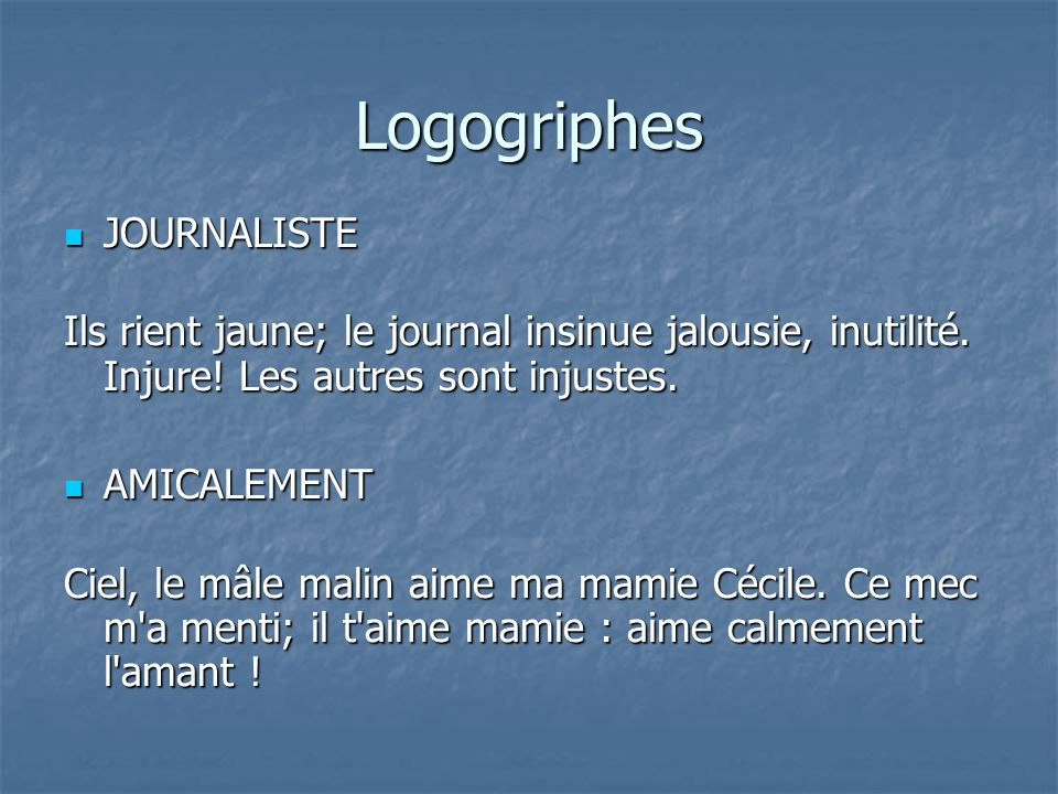 Logogriphes JOURNALISTE