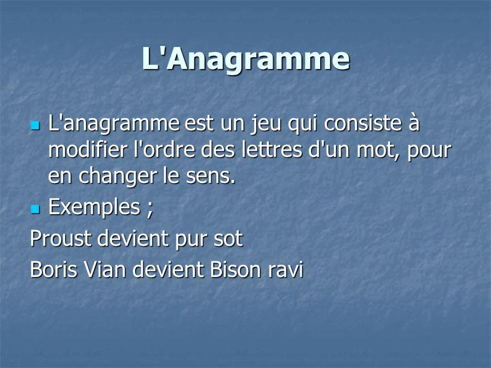 L Anagramme L anagramme est un jeu qui consiste à modifier l ordre des lettres d un mot, pour en changer le sens.