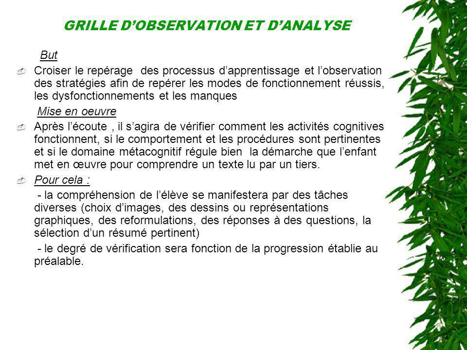 GRILLE D'OBSERVATION ET D'ANALYSE