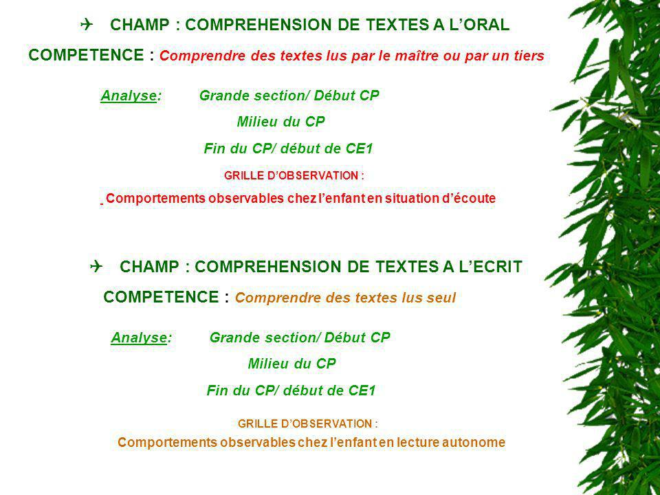 Q CHAMP : COMPREHENSION DE TEXTES A L'ORAL