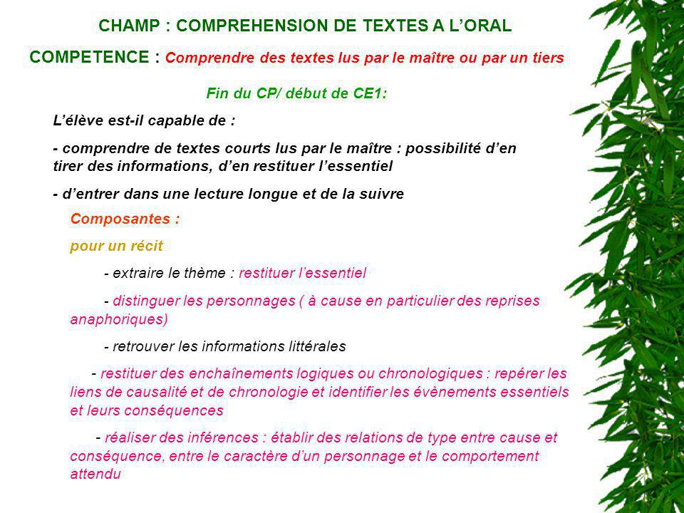 CHAMP : COMPREHENSION DE TEXTES A L'ORAL