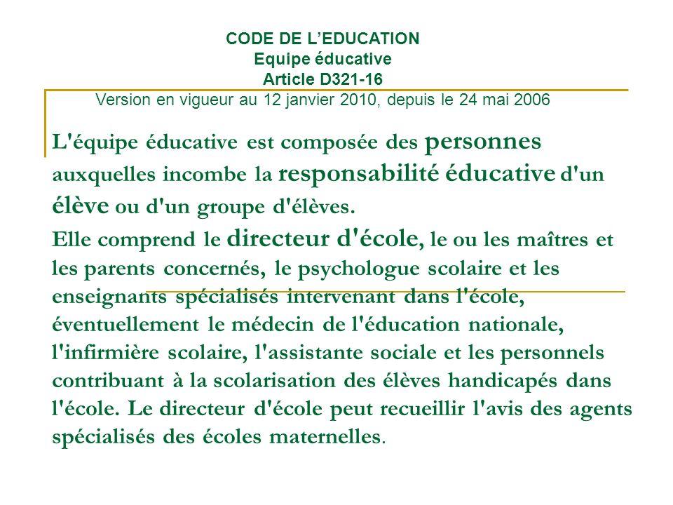 CODE DE L'EDUCATION Equipe éducative Article D321-16 Version en vigueur au 12 janvier 2010, depuis le 24 mai 2006