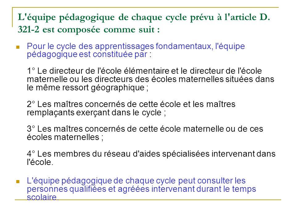 L équipe pédagogique de chaque cycle prévu à l article D
