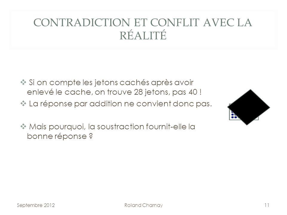 CONTRADICTION ET CONFLIT AVEC LA RÉALITÉ