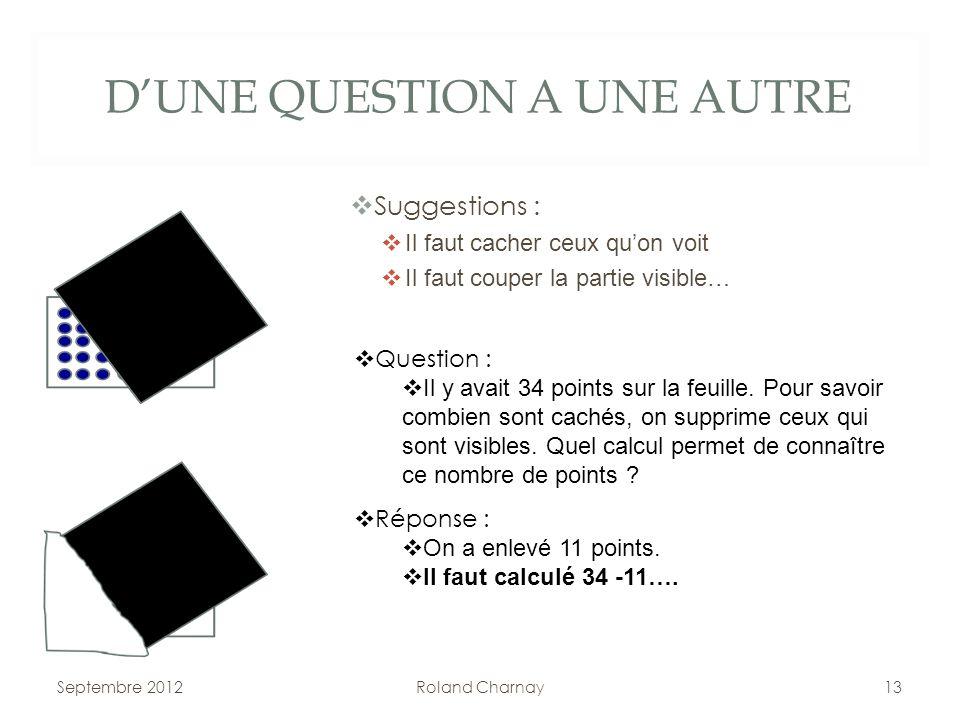 D'UNE QUESTION A UNE AUTRE