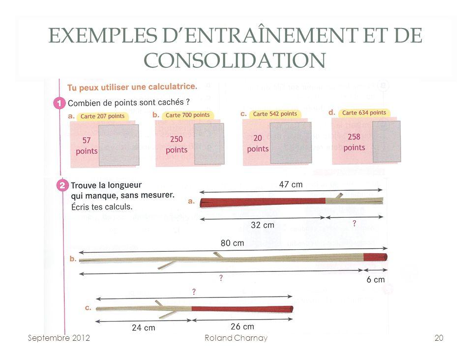 EXEMPLES D'ENTRAÎNEMENT ET DE CONSOLIDATION