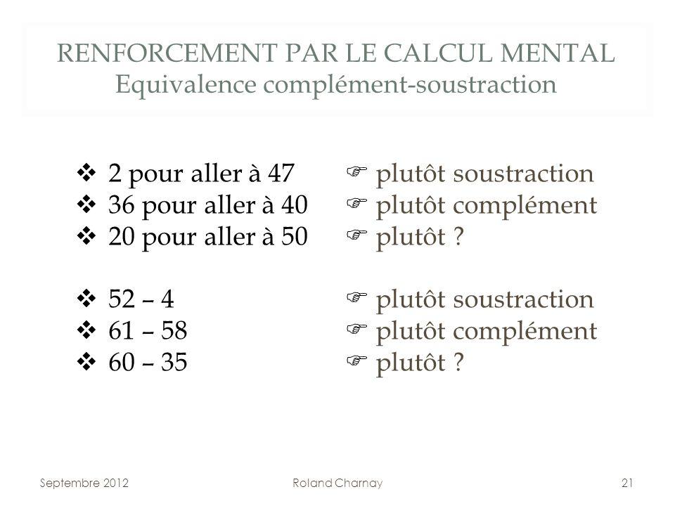 RENFORCEMENT PAR LE CALCUL MENTAL Equivalence complément-soustraction