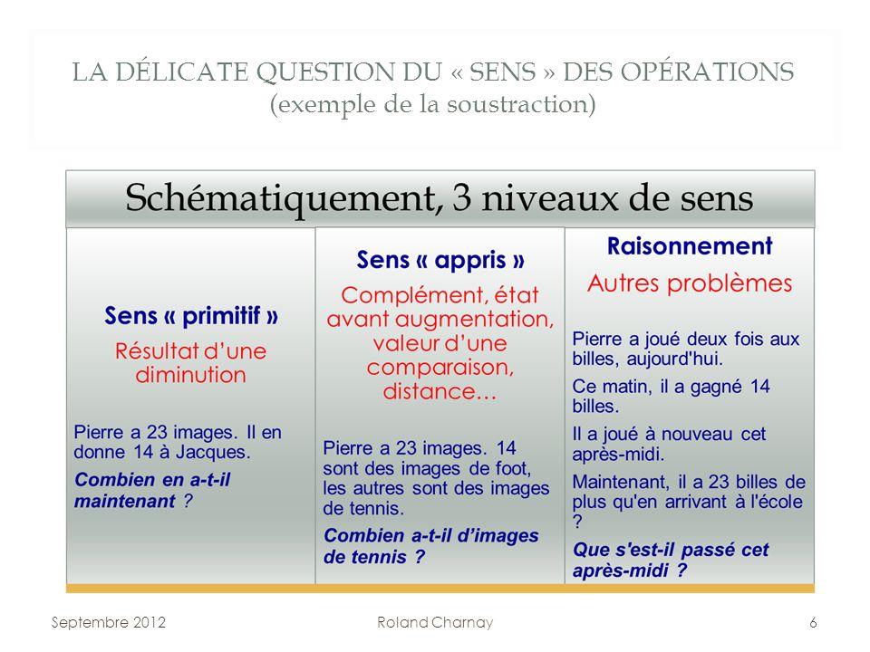 LA DÉLICATE QUESTION DU « SENS » DES OPÉRATIONS (exemple de la soustraction)