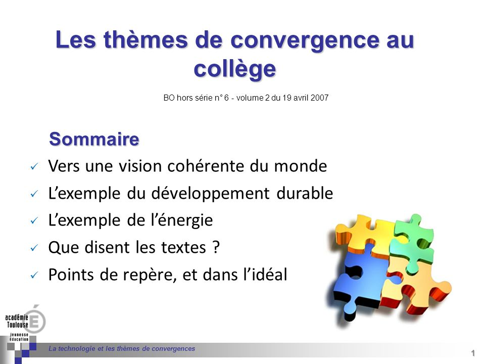 Les thèmes de convergence au collège