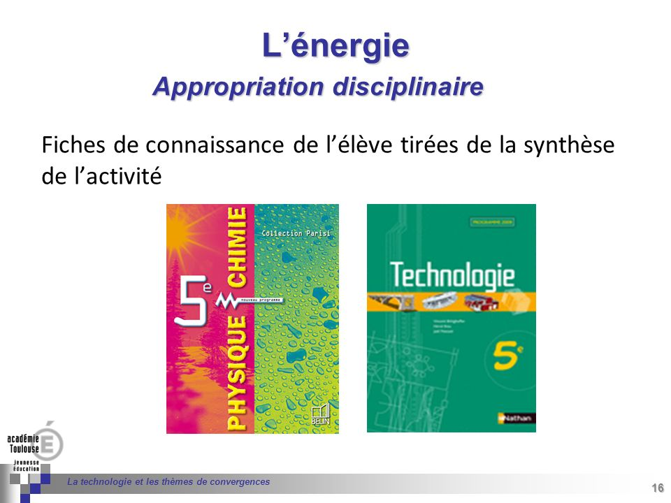 L'énergie Appropriation disciplinaire
