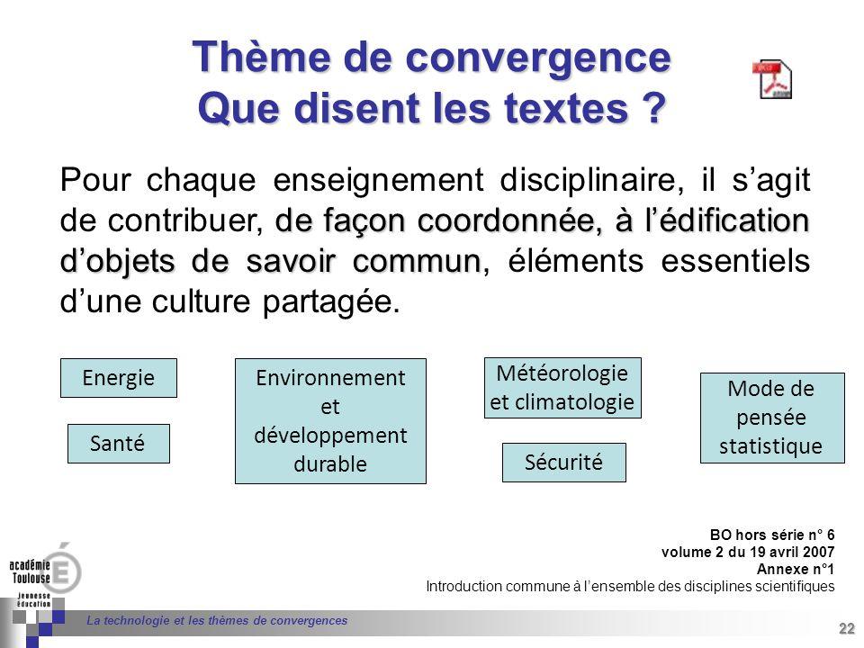 Thème de convergence Que disent les textes