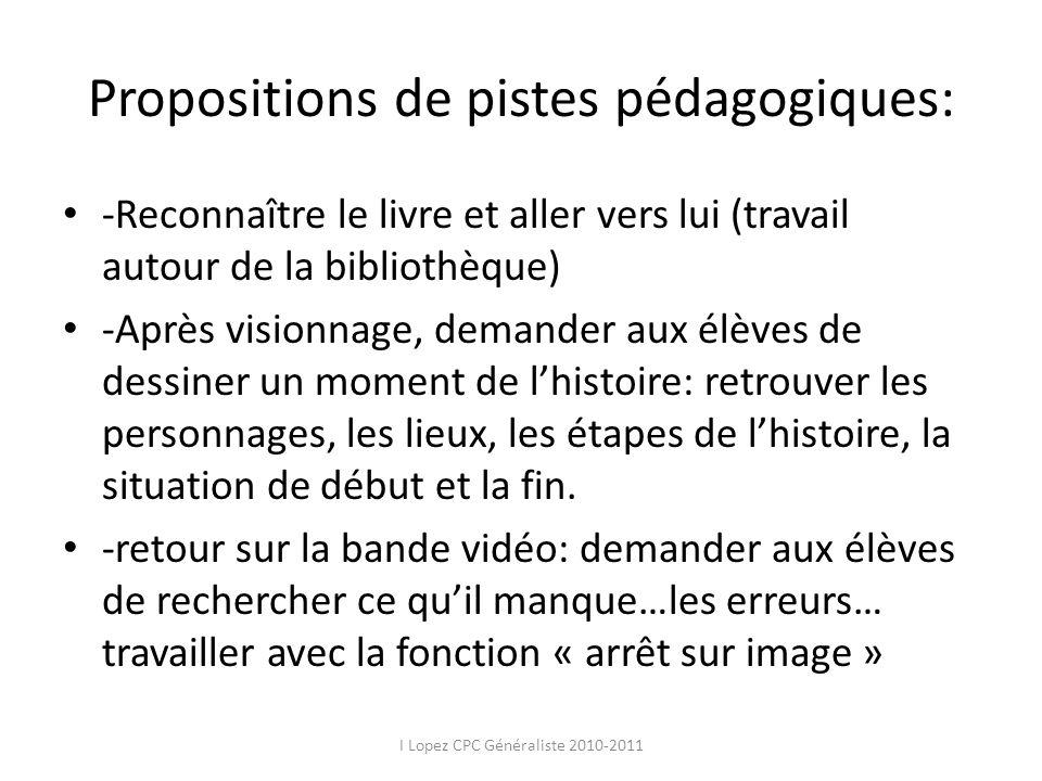 Propositions de pistes pédagogiques:
