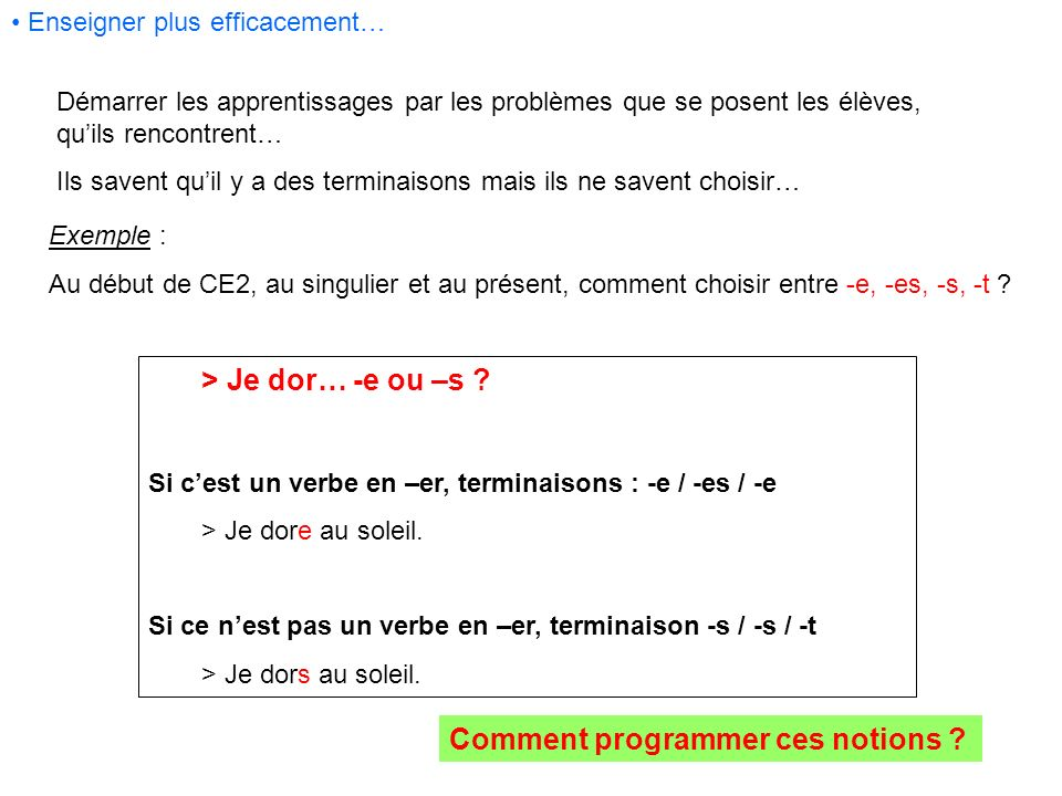 Comment programmer ces notions