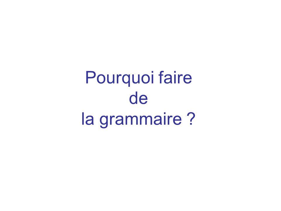 Pourquoi faire de la grammaire