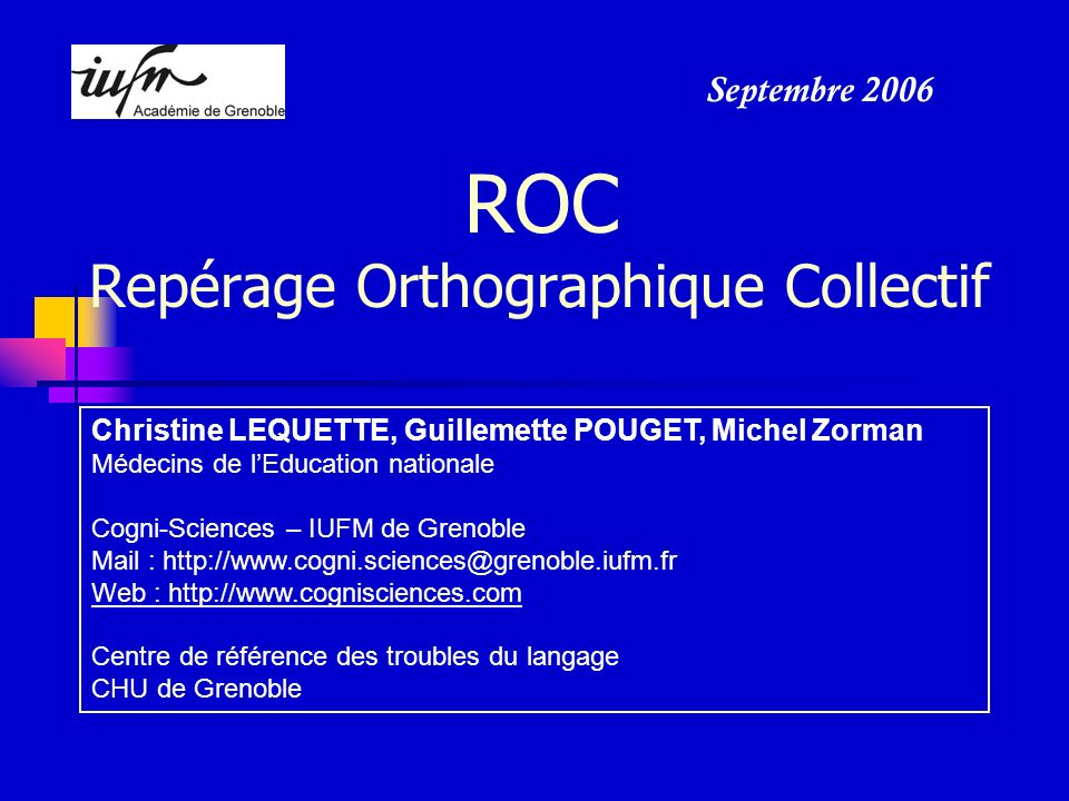 ROC Repérage Orthographique Collectif